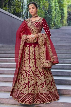 Velvet 9000 Bridal Lehenga Choli Design Maroon Color