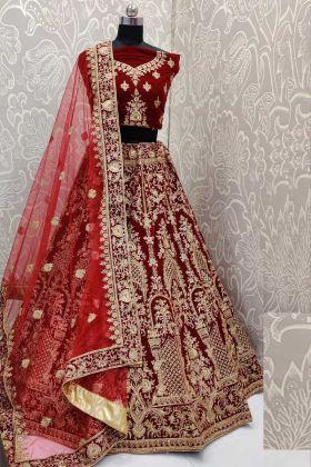 Velvet Heavy Designer Bridal Lehenga Choli In Maroon Color