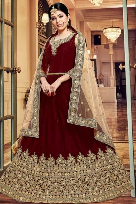 Velvet Anarkali Dress Embroidery Work In Maroon Color