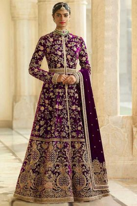 Velvet Anarkali Dress Embroidery Work In Rani Pink Color