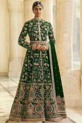 Velvet Anarkali Salwar Kameez Fancy Dori Work In Green Color