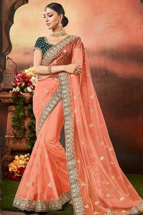 Velvet Blouse With Net Fabric Orange Color Designer Saree