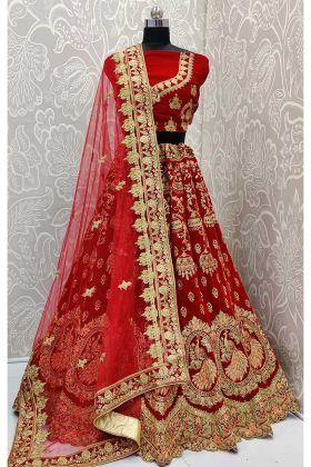 Velvet Bridal Lehenga Choli In Attractive Peacock Motifs