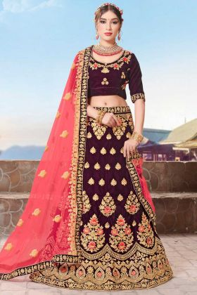 Velvet Bridal Lehenga Choli Purple Color With Embroidery Work