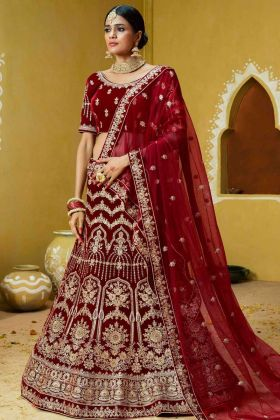 Velvet Bridal Lehenga Choli Red Color With Thread Embroidery Work