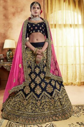 Velvet Dark Blue Bridal Lehenga Choli