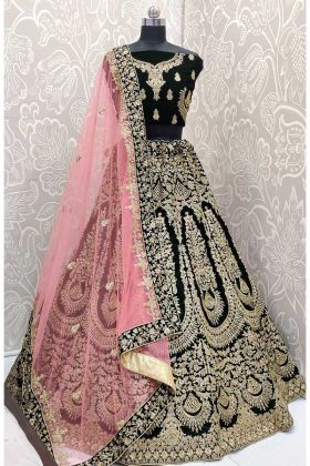 Velvet Dark Green Color Bridal Lehenga Choli