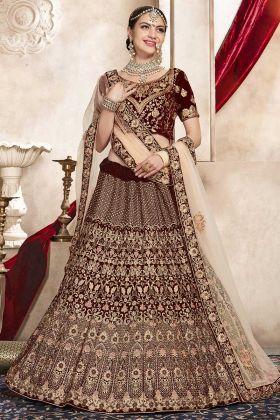 Velvet Designer Bridal Lehenga Choli Dark Maroon Color With Embroidery Work
