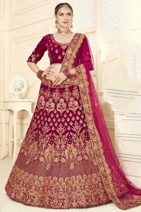 Velvet Designer Bridal Lehenga Choli Embroidery Work In Rani Color