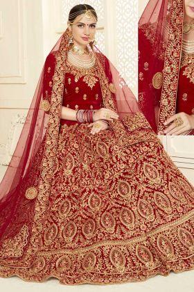 Velvet Designer Bridal Lehenga Choli Embroidery Work In Red Color