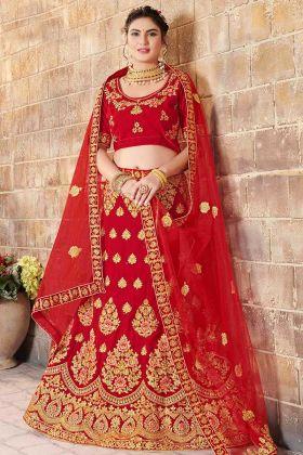 Velvet Designer Bridal Lehenga Choli In Red Color