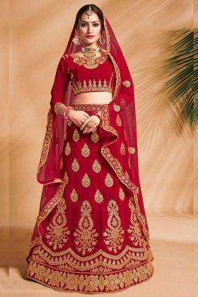 Velvet Designer Bridal Lehenga Choli Red Color Embroidery Work With Net Dupatta