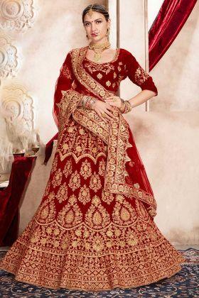 Velvet Designer Bridal Lehenga Choli Resham Dhaga Work In Red Color