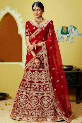 Velvet Designer Bridal Lehenga Choli Stone Hand Work In Red Color