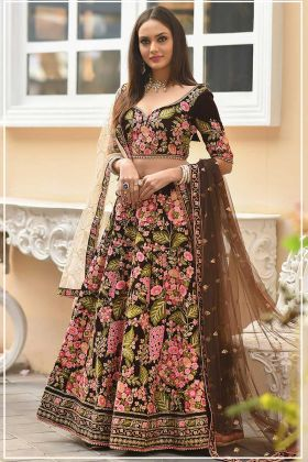 Velvet Designer Bridal Lehenga Choli Stone Work In Coffee Color