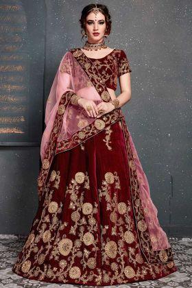 Velvet Designer Lehenga Choli Maroon Color With Dori Pattern