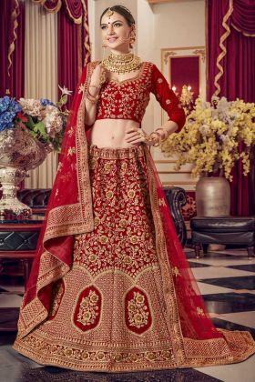 Velvet Elegant Blouse Designs For Red Bridal Lehenga