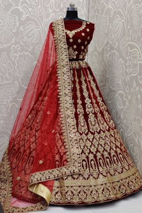 Velvet Fabric Maroon Wedding Lehenga Choli In Zari Embroidered Work