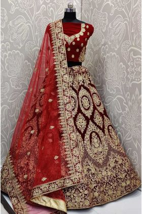 Velvet Fabric Zari Work Maroon Lehenga Bridal Look