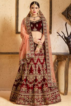 Velvet Maroon Bridal Lehenga Choli