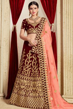 Velvet Maroon Embroidered Bridal Lehenga