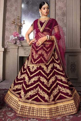 Velvet Maroon Lehenga In Embroidered With Maroon Blouse