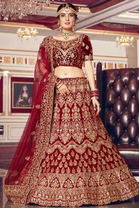Velvet Most Beautiful Bridal Lehenga Maroon Color Stone Work
