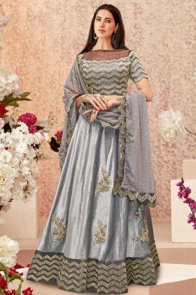 Velvet Party wear Lehenga Choli In Grey Color
