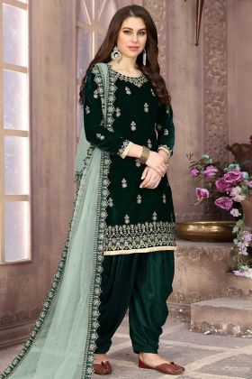 Velvet Punjabi Salwar Kameez Stone Work In Pine Green Color