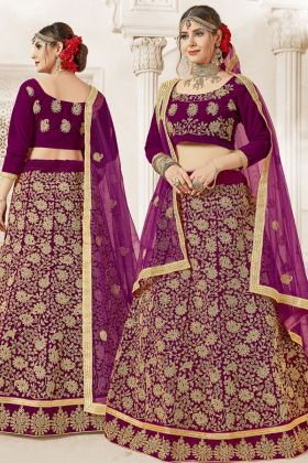 Velvet Purple Bridal Lehena Choli