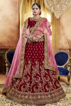 Velvet Red Bridal Lehenga Choli Online