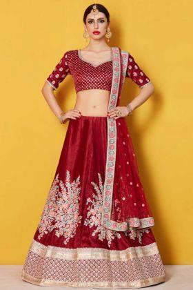 Velvet Silk Bridal Lehenga Maroon Color