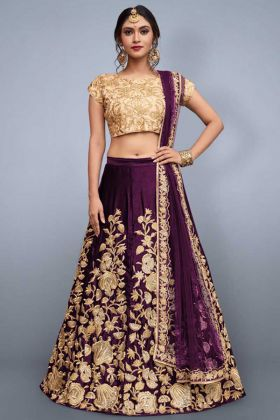 Velvet Silk Bridal Lehenga With Soft Net Dupatta
