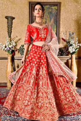 Velvet Silk Bride Red Lehenga Choli Online