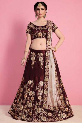 Velvet Silk Maroon Bridal Wear Lehenga Choli