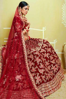 Velvet Stone Hand Work Bridal Lehenga Choli In Red Color