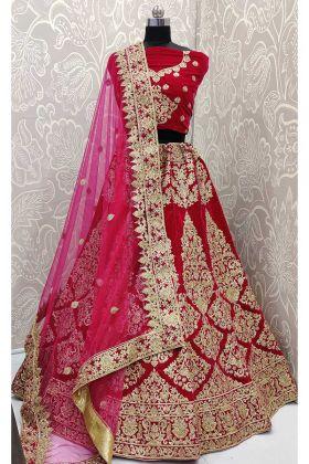 Velvet Wedding Bridal Lehenga Choli Coding Work In Rani Pink Color
