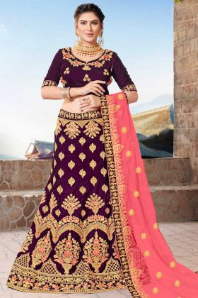 Velvet Wedding Bridal Lehenga Choli Embroidery Work In Purple Color