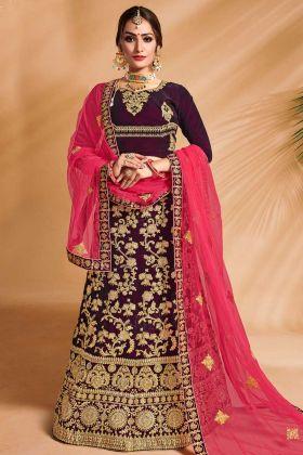 Velvet Wedding Bridal Lehenga Choli Emroidery Work In Purple Color