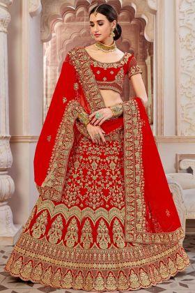 Velvet Wedding Bridal Lehenga Choli Red Color With Net Dupatta