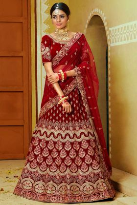 Velvet Wedding Bridal Lehenga Choli Red Color With Stone Hand Work