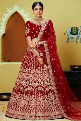 Velvet Wedding Bridal Lehenga Choli Red Color With Thread Embroidery Work
