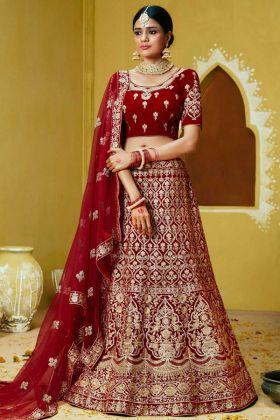 Velvet Wedding Bridal Lehenga Choli Stone Hand Work In Red Color