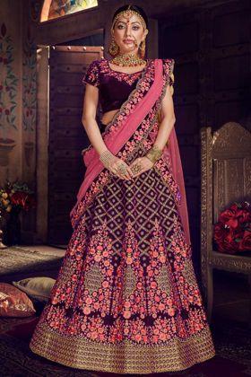 Velvet Wedding Bridal Lehenga Choli Wine Color With Net Dupatta