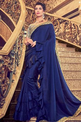 Vichitra Silk Blue Party Wear Saree