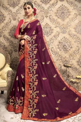 Vichitra Silk Designer Saree Embroidery Work In Wine Color