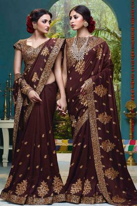 Vichitra Silk Festival Saree Brown Color With Foil Print Work
