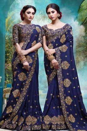Vichitra Silk Festival Saree Cobalt Blue Color With Foil Print Work
