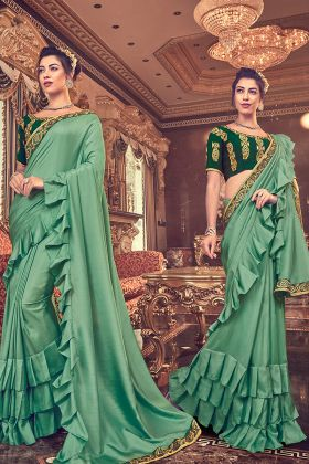 Vichitra Silk Green Ruffle Saree Online