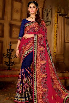 Vichitra Silk Half and Half Festival Saree Magenta Pink and Royal Blue Color With Resham Embroidery Work
